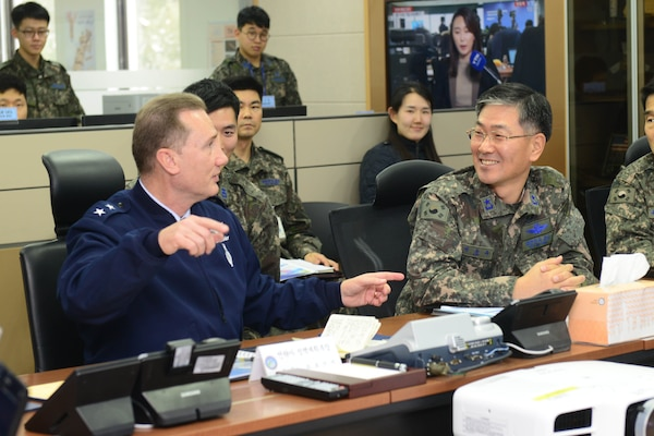 U.S. Air Force Maj. Gen. Clinton Crosier (left), U.S. Strategic Command plans and policy director, speaks to Republic of Korea Air Force (ROKAF) Brig. Gen. Dongkyu Lee, studies and analyses assessments wing commander, during a visit to the Korean Space Operations Center (KSpOC) in Gyeryong-Si, Republic of Korea (ROK), Jan. 20, 2017. Crosier visited the KSpOC and the ROKAF Headquarters to meet with ROKAF leaders and discuss U.S.-ROK military collaboration in space. One of nine DoD unified combatant commands, USSTRATCOM has global strategic missions assigned through the Unified Command Plan that include strategic deterrence; space operations; cyberspace operations; joint electronic warfare; global strike; missile defense; intelligence, surveillance and reconnaissance; and analysis and targeting.