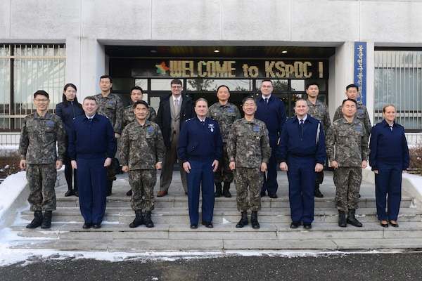 U.S. Air Force Maj. Gen. Clinton Crosier (front row, fourth from left), U.S. Strategic Command plans and policy director, and Republic of Korea Air Force (ROKAF) Brig. Gen. Dongkyu Lee (front row, fourth from right), studies and analyses assessments wing commander, visit the Korean Space Operations Center (KSpOC) in Gyeryong-Si, Republic of Korea (ROK), Jan. 20, 2017. Crosier visited the KSpOC and the ROKAF Headquarters to meet with ROKAF leaders and discuss U.S.-ROK military collaboration in space. One of nine DoD unified combatant commands, USSTRATCOM has global strategic missions assigned through the Unified Command Plan that include strategic deterrence; space operations; cyberspace operations; joint electronic warfare; global strike; missile defense; intelligence, surveillance and reconnaissance; and analysis and targeting.