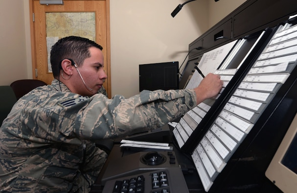 "Senior Airman Jonell Sanchez, an air traffic controller assigned to the 28th Operations Support Squadron, trains in a simulation at Ellsworth Air Force Base, S.D., Jan. 25, 2017. The training involves sending beacon codes for Ellsworth approach while the radar system is ""down."" (U.S. Air Force photo by Airman 1st Class Donald C. Knechtel)"