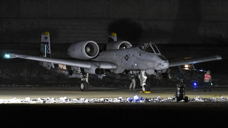 An A-10 Thunderbolt II assigned to the 25th Fighter Squadron is run through a final check before takeoff at Osan Air Base, Republic of Korea, Jan. 25, 2017. Several A-10s were flown in the mission, which was part of Exercise Pacific Thunder 17-1 and also the first night mission in the history of the exercise. (U.S. Air Force photo by Senior Airman Victor J. Caputo)