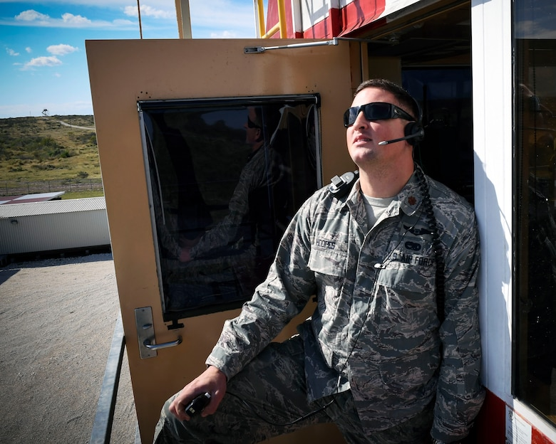 Maj. Eric Hoopes, commander of the 149th Fighter Wing's Detachment 1, controls the flight at Yankee Range, Naval Air Station Kingsville, Texas, Dec. 1, 2016. The range is used to prepare combat fighter pilots for worldwide operations. (U.S. Air National Guard photo by Tech. Sgt. Mindy Bloem)