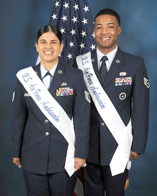 Tech. Sgt. Marie Sarabia and Staff Sgt. Nicholas J. Gooden-Bustamante are the 2017 U.S. Air Force Military Ambassadors for Joint Base San Antonio. (Photo by Olivia Mendoza)