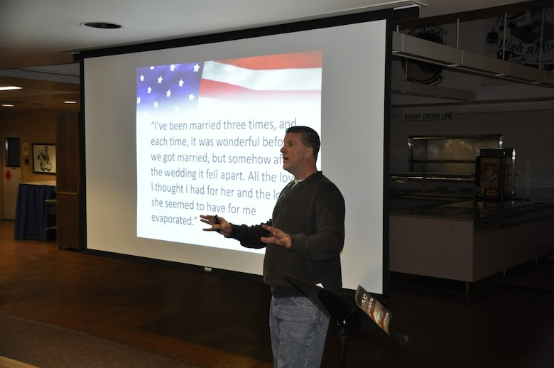 """Chaplain Maj. Donny Crandell, of the Nevada National Guard's 152nd Airlift Wing, facilitates """"The 5 Love Languages"""" training for 15 Army and Air Guard couples who attended the Nevada Guard's first-ever joint """"Couples Night Out.""""  USAF photo by Capt. Jason Yuhasz released."""