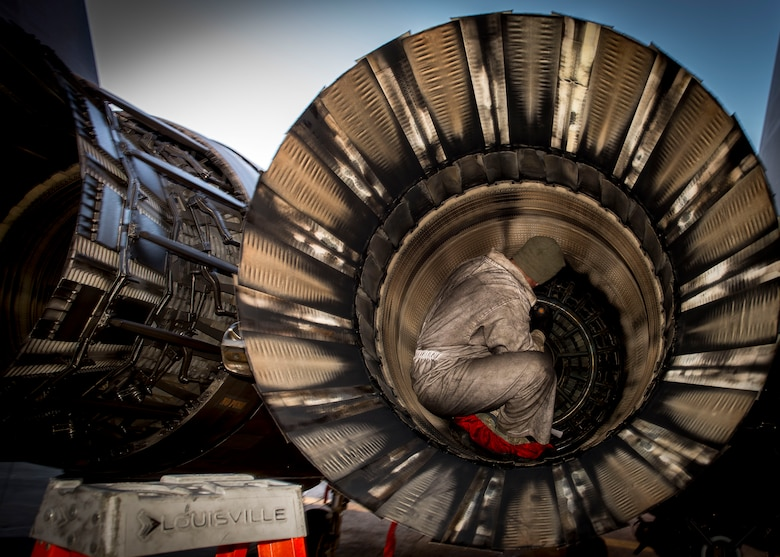 Staff Sgt. Shane Dewyar, 332nd Expeditionary Maintenance Squadron crew chief, inspects an engine, Jan. 9, 2017, in Southwest Asia. Crew chiefs launch, recover and maintain aircraft striving to provide combat-ready aircraft daily. (U.S. Air Force photo by Staff Sgt. Eboni Reams)