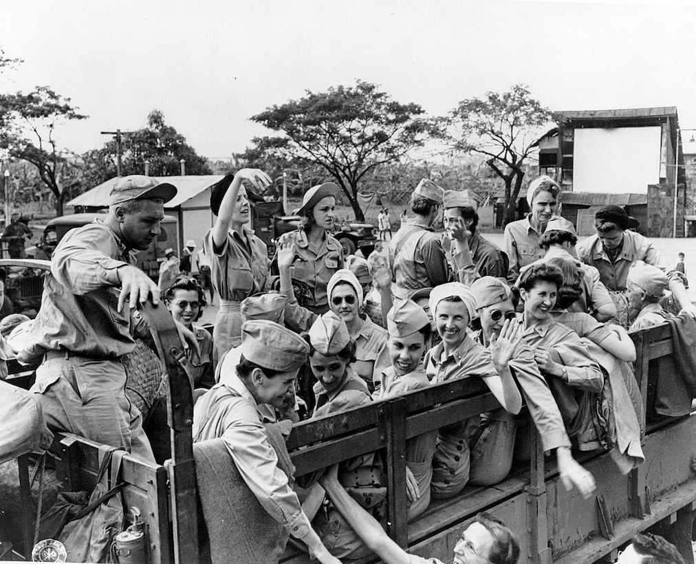 Lt. Col. Helen Hennessey was captured as a prisoner of war in 1942 and sent to the Santo Tomas internment camp in Manila. She was one of the many nurses captured on the island of Corregidor. This is an image of many of those nurses being rescued when Santo Tomas was eventually liberated by American troops in 1945. [12 February 1945]