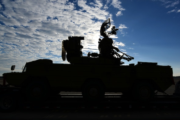"""An SA-8 Gecko """"Land Roll"""" launcher surface-to-air missile system sits on the flightline at Shaw Air Force Base, S.C., Jan. 20, 2017. The Russian-built SA-8 gave Airmen an insight into the 20th Fighter Wing's suppression of enemy air defenses mission. (U.S. Air Force photo by Airman 1st Class Kelsey Tucker)"""