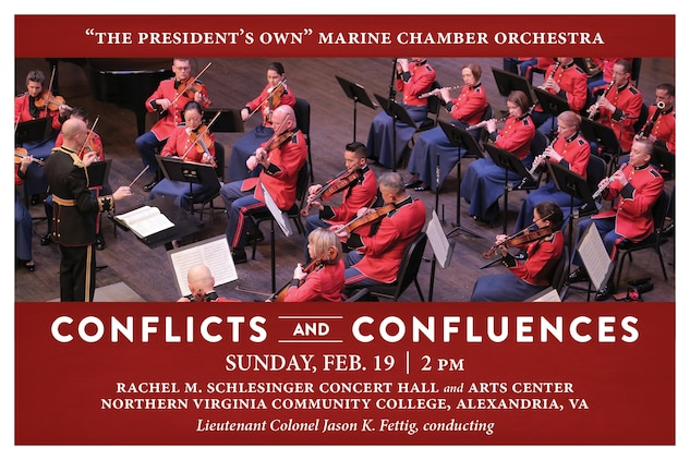 The Marine Chamber Orchestra perform at 2 p.m., Sunday, Feb. 19, at Northern Virginia Community College's Schlesinger Center in Alexandria, Va. This program features three disparate works that each illuminate conflict and confluence through music: Wolfgang Amadeus Mozart's Overture to Don Giovanni; Dmitri Shostakovich's Symphony No. 9 in E-flat; and the world première of composer, oboist, and veteran Marine Lt. Col. Kenneth Watson's Bassoon Concerto, written specifically for principal bassoon Master Sgt. Christopher McFarlane, who will perform the selection.  Admission and parking are free.