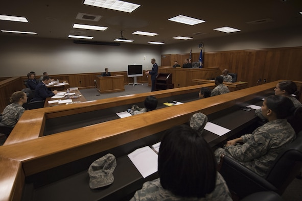 The 23d Wing legal office simulates a courtroom trial during an Emerge Moody course, Jan. 5, 2017, at Moody Air Force Base, Ga. This is the same courtroom that was used in the special court-martial that sentenced an Airman that pled guilty to using cocaine more than twice and one count of cocaine distribution. The Airman received a federal conviction, confinement for two-months, forfeiture of two-thirds pay for two months and reduction in rank to E-1. (U.S. Air Force photo by Airman 1st Class Daniel Snider)