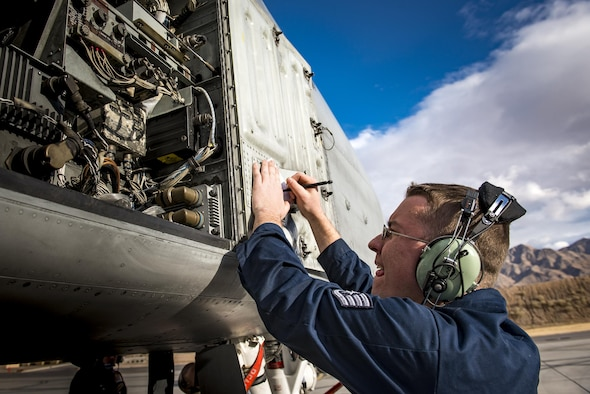 Staff Sgt. Ryan Holovich, 74th Aircraft Maintenance Unit crew chief, conducts a post-flight inspection on an A-10C Thunderbolt II during Green Flag-West 17-03, Jan. 23, 2017, at Nellis Air Force Base, Nev. GFW is an air-land integration combat training exercise, which hosted 12 A-10s from Moody Air Force Base, Ga. Accompanying the aircraft were 130 maintenance personnel who worked around the clock to launch 18 sorties per day. (U.S. Air Force photo by Staff Sgt. Ryan Callaghan)