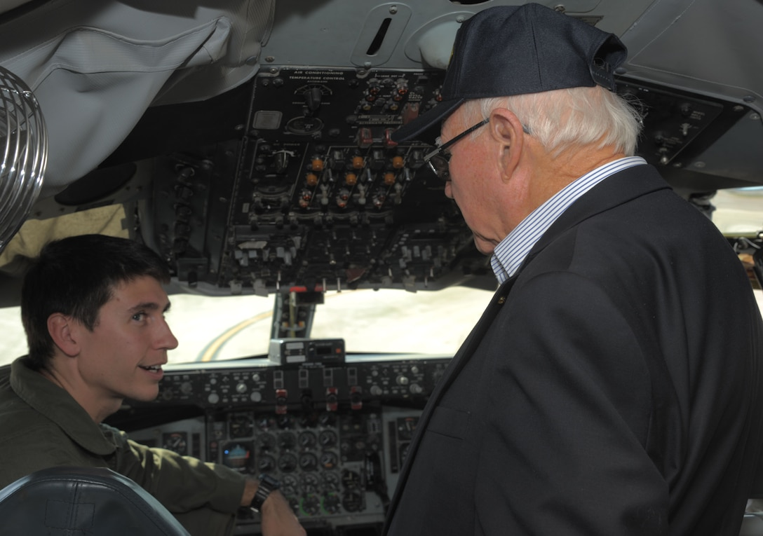 Capt. Daniel Hickox (left), the chief of readiness assigned to the 91st Air Refueling Squadron, shows Keith Cole, a World War II veteran, the cockpit of a KC-135 Stratotanker at MacDill Air Force Base, Fla., Jan. 18, 2017. Cole was a part of the 492nd Bombardment Group and helped conduct secret airlift mission during WWII. (U.S. Air Force photo/Airman 1st Class Adam R. Shanks)