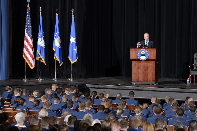 Ex-CIA director Michael Hayden speaks to cadets from the stage  at Arnold Hall Theater, Jan. 24, 2017, at the U.S. Air Force Academy. Hayden spoke to an audience of cadets first class about the challenges of leadership. Hayden, a retired Air Force four star general, also served as head of the National Security Agency and is a former principal deputy director of National Intelligence. (U.S. Air Force photo/Jason Gutierrez)