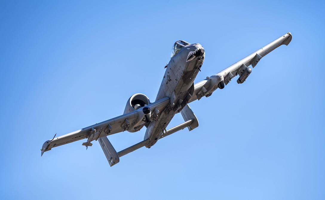 An A-10C Thunderbolt II soars through the skies in preparation for Green Flag-West, Jan. 12, 2017, above Moody Air Force Base, Ga. During Green Flag-West, participants encountered insurgency scenarios geared specifically toward combating threats from small cell terror groups or more organized groups like the Taliban. (U.S. Photo/Airman 1st Class Janiqua P. Robinson)