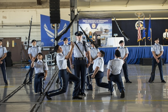 Members of the John Jay High School Drill Team perform during Air Education and Training Command's 75th Anniversary Extravaganza Jan. 23, 2017, at Joint Base San Antonio-Randolph, Texas. The event celebrated AETC's history of transforming civilians into Airmen and their continued development to the future success of the Air Force. (U.S. Air Force photo by Senior Airman Stormy Archer)