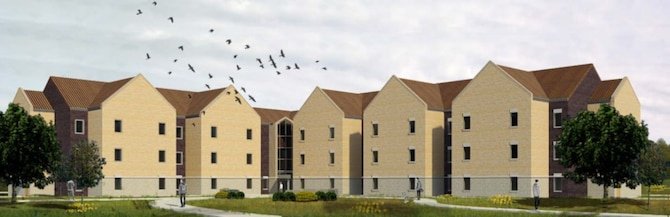 The U.S. Army Corps of Engineers awarded an $18.8 million contract January 17 to build a brand-new, 120 person dormitory on base. The new LEED Silver dorm will include a full brick exterior from the ground to the roof, which reduces maintenance and has a longer life span than hardboard siding. (Courtesy graphic)