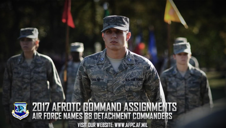 Thirty-eight officers from active duty, the Reserve and Guard have been selected as Air Force Reserve Officer Training Corps detachment commanders in schools across the nation. The commanders will report to their new assignments this summer. (U.S. Air Force graphic by Kat Bailey)