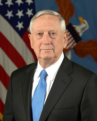 James N. Mattis, the 26th Secretary of Defense, poses for his official portrait in the Army portrait studio at the Pentagon, Jan 25, 2017.  Army photo by Monica King