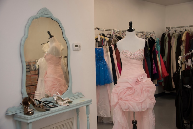Cinderella's Closet at the Sheppard AFB Thrift Shop offers formal dresses for loan.
