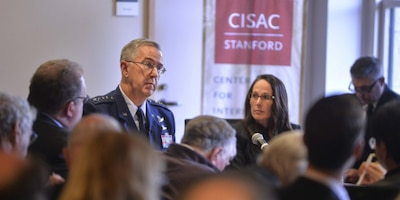 Air Force Gen. John E. Hyten, commander of U.S. Strategic Command, speaks at Stanford University's Center for International Security and Cooperation in California, Jan. 24, 2017. Courtesy photo by Rod Searcey