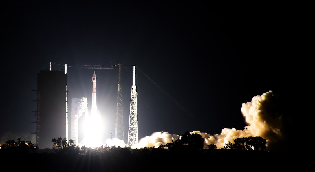 The United Launch Alliance Atlas V rocket carrying Space-Based Infrared System GEO 3 successfully takes off Jan. 20, 2017, from Cape Canaveral Air Force Station, Florida. SBIRS GEO 3 was built by Lockheed Martin for the U.S. military to use for their missile warning capabilities. (U.S. Air Force photo by Airman Holden S. Faul/Released)
