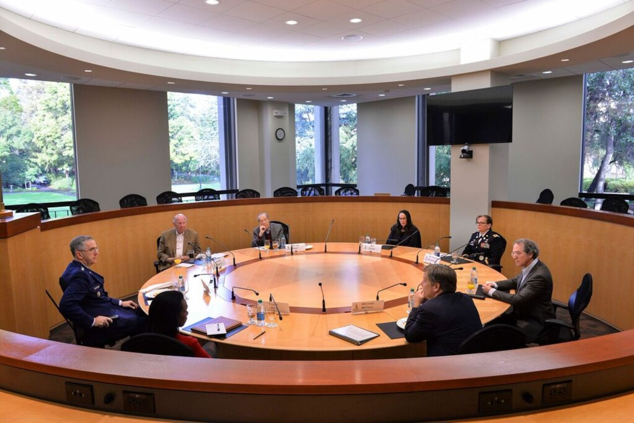 Air Force Gen. John E. Hyten, commander of U.S. Strategic Command, meets with former Defense and State Department officials at Stanford University in California, Jan. 24, 2017, before his speech at Stanford's Center for International Security and Cooperation. The officials included William J. Perry, a former defense secretary and now a senior fellow at CISAC; George Shultz, a former defense secretary and now a senior fellow at the Hoover Institution; and Condoleezza Rice, a former secretary of state and now a fellow at the Freeman Spogli Institute for International Studies and the Hoover Institution. Courtesy photo by Rod Searcey