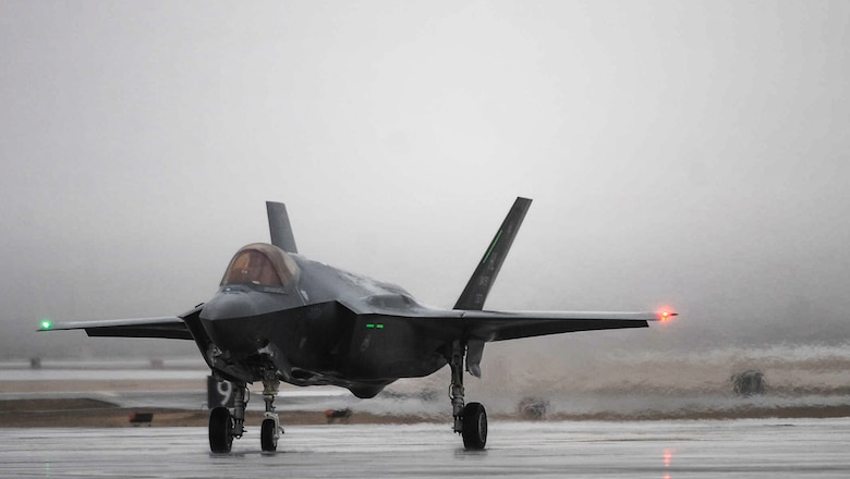 An F-35A Lightning II assigned to Hill Air Force Base, Utah, taxi after landing at Nellis Air Force Base, Nev., to participate in Red Flag 17-1, Jan. 21, 2017. Red Flag involves a variety of attack, fighter, bomber, reconnaissance, electronic warfare, air lift support, and search and rescue aircraft. (U.S. Air Force photo by Airman 1st Class Kevin Tanenbaum/Released)
