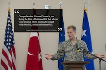 Chaplain (Maj. Gen.) Dondi Costin, Air Force chief of chaplains, speaks during a spiritual fitness luncheon, Jan. 26, 2017, at Incirlik Air Base, Turkey. During the event, Costin spoke about spiritual resilience and how it relates to other parts of Comprehensive Airman Fitness. (U.S. Air Force photo illustration by Senior Airman John Nieves Camacho)