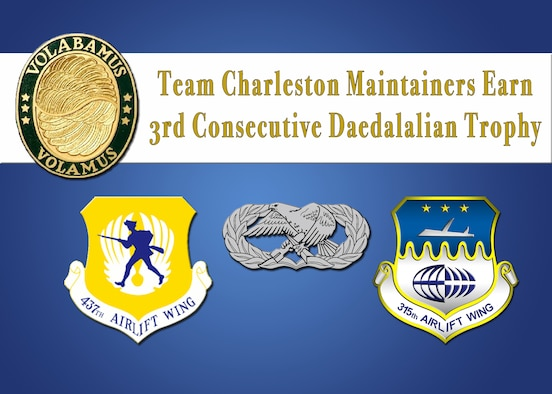 C-17 Globemaster III maintainers of the 437th and 315th Maintenance Groups at Joint Base Charleston have once again demonstrated that they are the cream of the crop after earning the 2016 Clements McMullen Daedalian Trophy for the third year in a row. (U.S. Air Force Graphic by Michael Dukes)