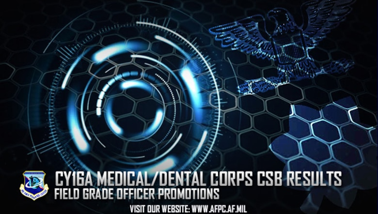 The Air Force has selected 534 officers for promotion as a result of the 2016A Medical and Dental Corps central selection boards for colonel, lieutenant colonel and major. These promotions require Senate confirmation in addition to commander's recommendation. (U.S. Air Force graphic by Staff Sgt. Alexx Pons)