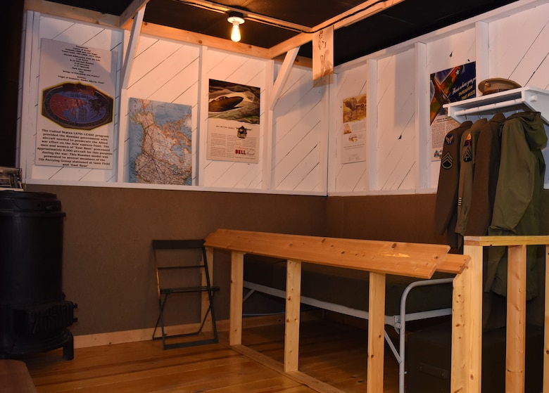 A mock-up of a World War II Army barrack is one of many exhibits on display at the Malmstrom Historic Exhibit and Air Park at Malmstrom Air Froce Base, Mont.  The museum contains more than 400 items on display that depict the history of Malmstrom and the Minuteman missile program.  (Air Force photo/Jason Heavner)