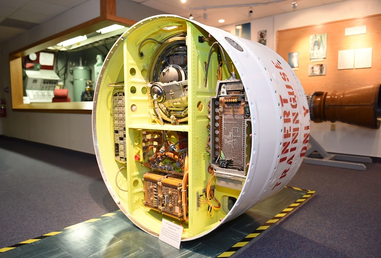 A Minuteman III missile guidance assembly is one of many exhibits on display at the Malmstrom Exhibit and Air Park at Malmstrom Air Force Base, Mont.  The museum contains more than 400 items on display that depict the history of Malmstrom and the Minuteman missile program.  (Air Force photo/Jason Heavner)