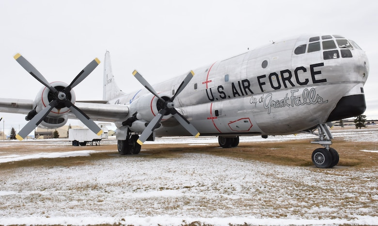 "A KC-97G ""Stratofreighter"", which flew at Malmstrom Air Force Base, Mont., during the late 1950s to early 1960s, is one of seven aircraft on display at the Malmstrom Historic Exhibit and Air Park.  The museum contains more than 400 items on display that depict the history of Malmstrom and the Minuteman missile program.  (Air Force photo/Jason Heavner)"