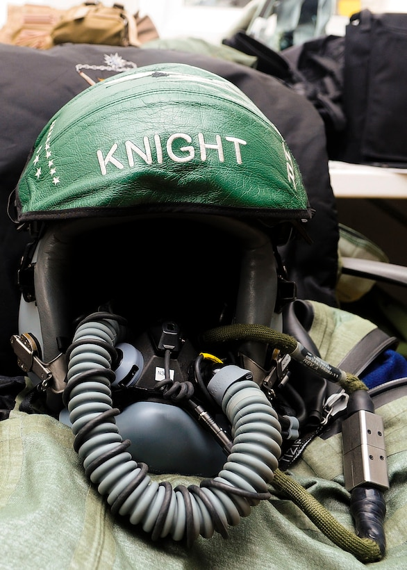 The helmet of an F-16 Fighting Falcon pilot from the 555th Fighter Squadron, Aviano Air Base, Italy awaits its owner during a flying training deployment at Souda Bay, Greece on Jan. 23, 2016. The FTD was hosted to evaluate aircraft and personnel capabilities and to train with Greece's Hellenic air force. (U.S. Air Force photo by Staff Sgt. Austin Harvill)