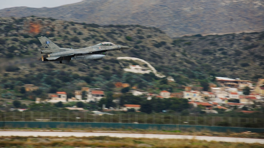 An F-16 Fighting Falcon from the Hellenic air force takes off at Souda Bay, Greece on Jan. 23, 2016. The Hellenic air force is training with the 555th Fighter Squadron from Aviano Air Base, Italy and the Arizona Air National Guard's 161st Air Refueling Wing during a flying training deployment to evaluate aircraft and personnel capabilities and improve interoperability between the two NATO allies. (U.S. Air Force photo by Staff Sgt. Austin Harvill)