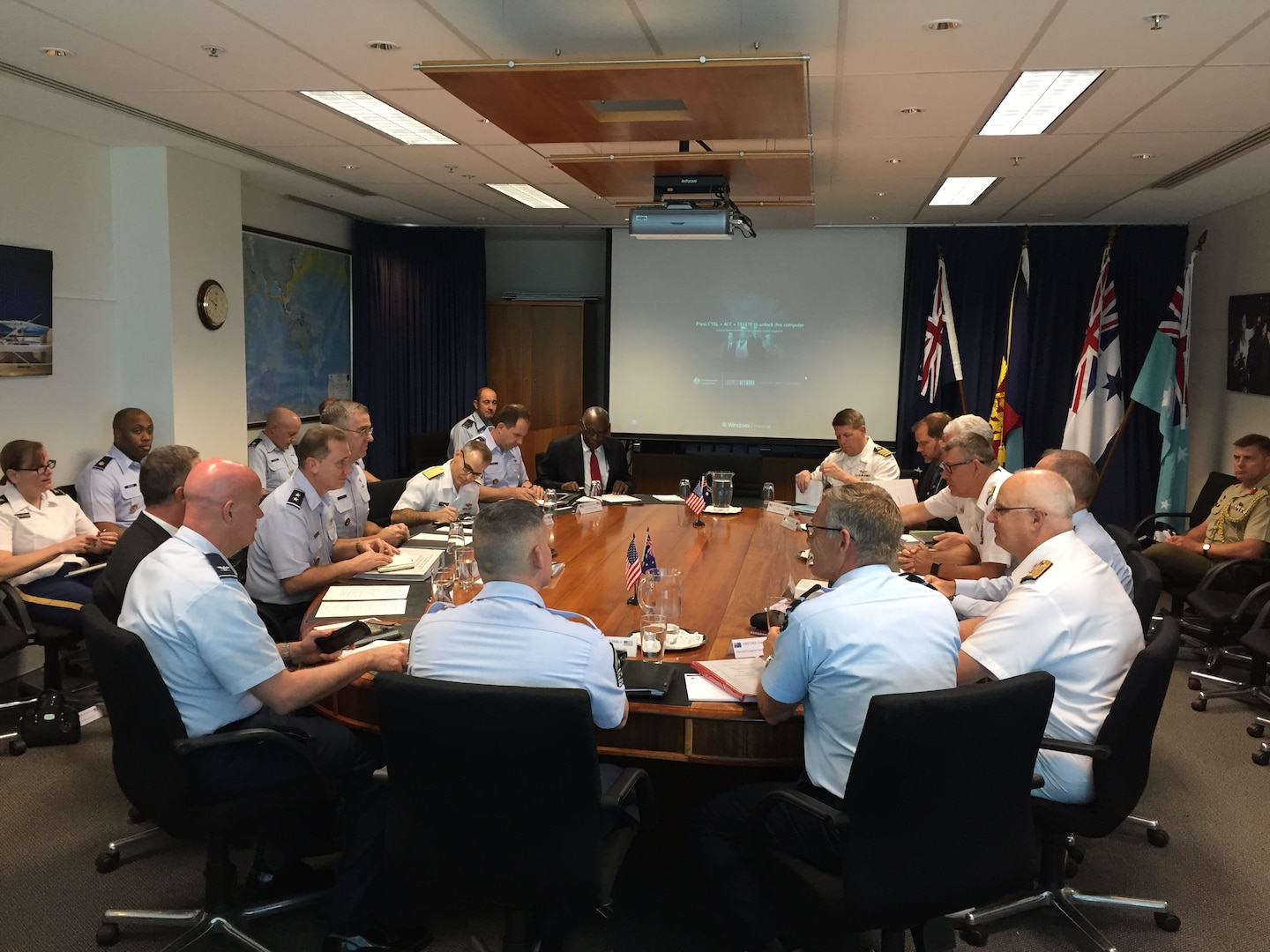 U.S. Air Force Gen. John E. Hyten, commander of U.S. Strategic Command (USSTRATCOM), with USSTRATCOM delegation, and Royal Australian Navy Vice Adm. Ray Griggs, vice chief of the Australian Defence Force with Australian Defence Force delegation, attend the USSTRATCOM-Australia Defence Organization bi-lateral engagement in Canberra, Australia, Jan. 17, 2017. The visit aligns with USSTRATCOM's priority to enhance interoperability between U.S. and Australian forces; expand cooperation in space, cyberspace, intelligence and missile defense; and identify future opportunities for cooperation and engagement. One of nine DoD unified combatant commands, USSTRATCOM has global strategic missions assigned through the Unified Command Plan that include strategic deterrence; space operations; cyberspace operations; joint electronic warfare; global strike; missile defense; intelligence, surveillance and reconnaissance; and analysis and targeting.