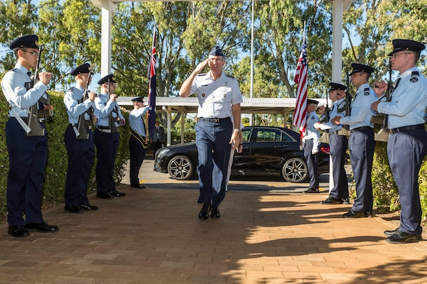 U.S. Air Force Gen. John E. Hyten, commander of U.S. Strategic Command (USSTRATCOM), returns a salute upon arrival to Remote Sensor Unit 1 at Royal Australian Air Force Base Edinburgh, Adelaide, Australia, during the USSTRATCOM-Australia Defence Organization bi-lateral engagement, Jan. 16, 2017. The visit aligns with USSTRATCOM's priority to enhance interoperability between U.S. and Australian forces; expand cooperation in space, cyberspace, intelligence and missile defense; and identify future opportunities for cooperation and engagement. One of nine DoD unified combatant commands, USSTRATCOM has global strategic missions assigned through the Unified Command Plan that include strategic deterrence; space operations; cyberspace operations; joint electronic warfare; global strike; missile defense; intelligence, surveillance and reconnaissance; and analysis and targeting.