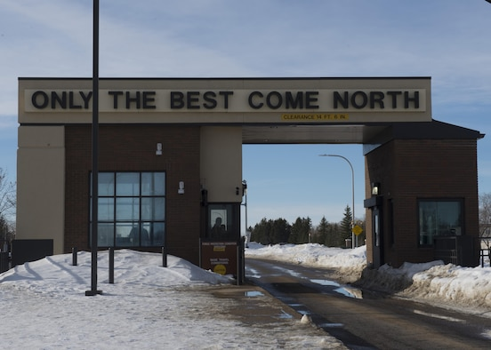 The Magic City Gate leads into Minot Air Force Base, N.D., Jan. 19, 2017. The statement 'Only the Best Come North' represents the responsibility placed on all Airmen who enter Minot AFB on a daily basis. (U.S. Air Force photo/Airman 1st Class Alyssa M. Akers)