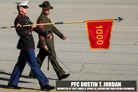 Private First Class Dustin T. Jordan partakes in the pass and review portion of graduation aboard Marine Corps Recruit Depot Parris Island, South Carolina, Jan. 27, 2017. Jordan is the Honor Graduate of platoon 1000. Jordan was recruited by Staff Sgt. James D. Boggs Jr. from Recruiting Substation Columbus. (U.S. Marine Corps photo by Lance Cpl. Jack A. E. Rigsby/Released)