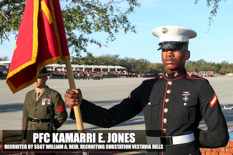Private First Class Kamarri E. Jones stands at parade rest before his graduation ceremony aboard Marine Corps Recruit Depot Parris Island, South Carolina, Jan. 27, 2017. Jones is the Honor Graduate of platoon 1001. Jones was recruited by Staff Sgt. William A. Reid from Recruiting Substation Vestavia Hills. (U.S. Marine Corps photo by Lance Cpl. Jack A. E. Rigsby/Released)