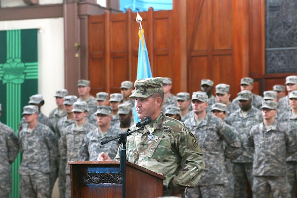 U.S. Army Col. David Heath gives his final speech as the Joint Detention Group commander for Joint Task Force Guantanamo at the change of command ceremony June 23, 2016 at the Naval Station Chapel on U.S. Naval Station Guantanamo Bay, Cuba. Col Heath took  command of the JDG in June 2014.(Photo by Army Sgt. Chelsea Garcia Released)