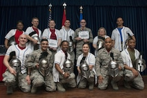 Winners of the 39th Air Base Wing 2016 Annual Awards pose for a photo during a banquet Jan. 27, 2017, at Incirlik Air Base, Turkey. The winners were selected as the top performers in their respective categories for the 2016 calendar year. (U.S. Air Force photo by Senior Airman John Nieves Camacho)