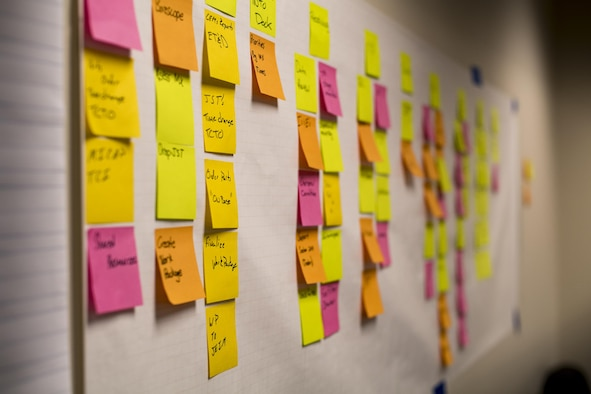 Sticky notes represent every step to overhauling a TF-34 engine used in A-10s, Jan. 23, 2017, at Moody Air Force Base, Ga. Representatives from Air Combat Command traveled to Moody Air Force Base to participate in a Continuous Process Improvement event with the goal of decreasing the scheduled 28 days it takes to disassemble, repair and reassemble the TF-34 engine. (U.S. Air Force photo by Airman 1st Class Daniel Snider)