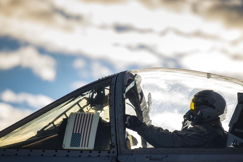 A pilot from the 74th Fighter Squadron waits to take off during Green Flag-West 17-03, Jan. 24, 2017, at Nellis Air Force Base, Nev. The 74th FS brought 12 A-10s to GFW in support of a joint, large-force combat-readiness exercise for close air support integration training. (U.S. Air Force photo by Staff Sgt. Ryan Callaghan