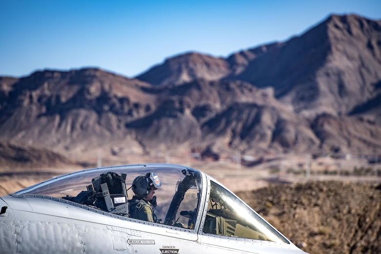 An A-10C Thunderbolt II from the 74th Fighter Squadron taxis down the runway during Green Flag-West 17-03, Jan. 23, 2017, at Nellis Air Force Base, Nev. The 74th FS brought 12 A-10s to GFW in support of a joint, large-force combat-readiness exercise for close air support integration training.(U.S. Air Force photo by Staff Sgt. Ryan Callaghan)