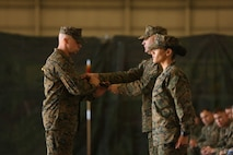 Sgt. Maj. Edward Heyward is appointed to HMLA-269 and Sgt. Maj. Lynnette Marr-Gaye is relieved on Marine Corps Air Station New River, N.C., Jan. 13, 2017. Heyward came from 2nd Air Naval Gunfire Liaison Company, II Marine Expeditionary Force. (U.S. Marine Corps photo by Lance Cpl. Juan Madrigal/Released)