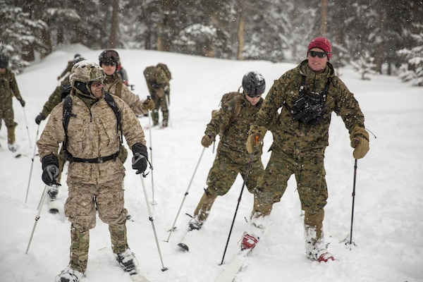 A Mountain Warfare Instructor leads Marines with 2nd Battalion, 2nd Marine Regiment, in skiing drills during Mountain Training Exercise 1-17 in the Marine Corps Mountain Warfare Training Center Bridgeport, Calif., training area Jan. 19, 2016. MCMWTC is one of the Marine Corps' most secluded posts, comprised of approximately 46,000 acres of terrain with elevations ranging from 5,000 to 11,000 feet. The exercise trains elements of the Marine air-ground task force across the warfighting functions for operations in mountainous, high-altitude and cold-weather environments in order to enhance a unit's ability to shoot, move, communicate, sustain and survive in the most rugged regions of the world. (U.S. Marine Corps photo by Cpl. Levi Schultz)