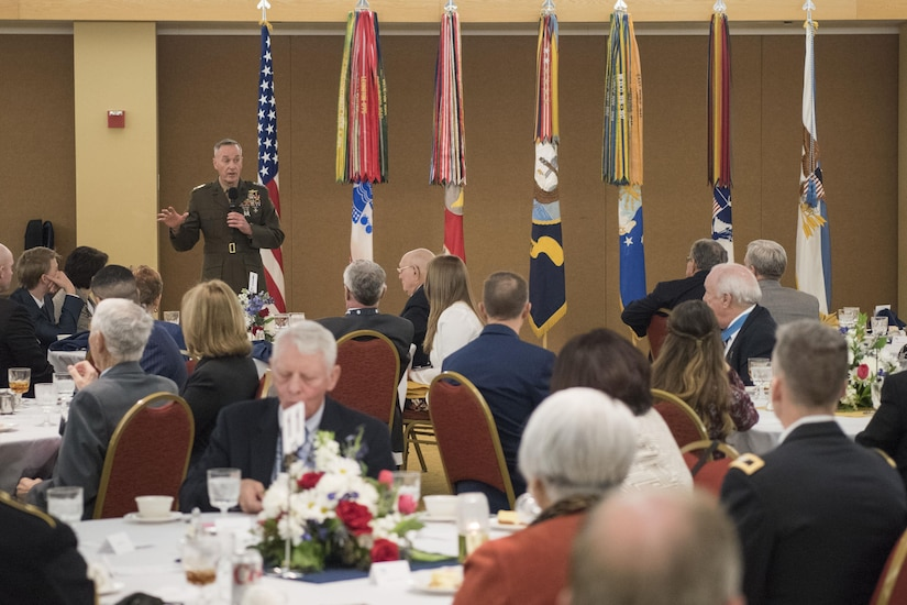 Marine Gen. Joseph F. Dunford Jr., chairman of the Joint Chiefs of Staff, hosts a luncheon for the Congressional Medal of Honor Society in Washington D.C., Jan. 19, 2017. The Congressional Medal of Honor Society is made up Medal of Honor recipients, and they are honored guests at every inauguration. They will sit on the dais on the steps of the Capitol tomorrow as President-elect Donald J. Trump takes the oath of office. DoD Photo by Navy Petty Officer 2nd Class Dominique A. Pineiro