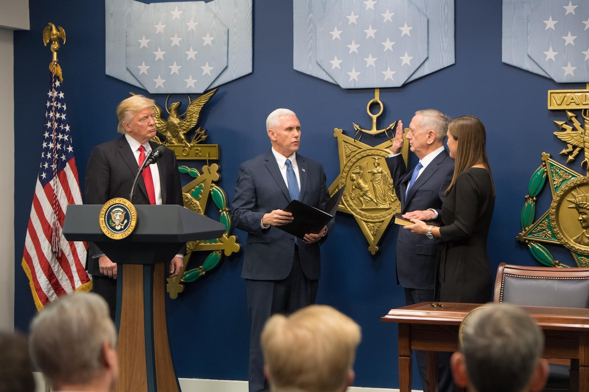 President Donald J. Trump swears in James N. Mattis as the 26th secretary of defense.