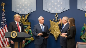 President Donald J. Trump swears in Jim Mattis as the 26th secretary of defense during a ceremony in the Hall of Heroes at the Pentagon, Jan. 27, 2017. DoD photo by Air Force Staff Sgt. Jette Carr