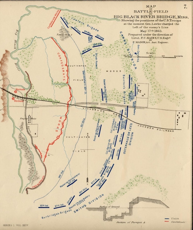 A map of the battlefield prepared by Union engineers shows Union and Confederate lines at the outset of the battle at the Big Black River Bridge, May 17, 1963. Destruction of the bridge across the river afforded Gen. Pemberton's army to pull back to Vicksburg after their defeat.