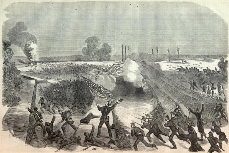A woodcut from Harper's Weekly (June 20, 1863 edition) shows the Union assault at the Battle of the Big Black River Bridge that drove the Confederate troops back to Vicksburg and deeply affected Gen. Pemberton's morale.